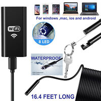 5M 8LED Wireless Endoscope WiFi Borescope Inspection Camera for iPhone Android