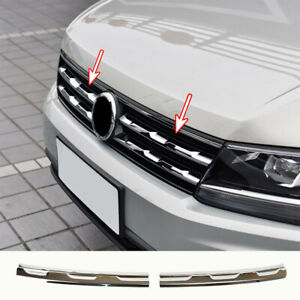 For VW Tiguan Mk2 16-  Chrome Front Mesh Grill Grille Cover Trim Molding Garnish