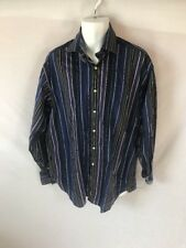 Men's TAILORBYRD Navy Striped Long Sleeved Button Down Dress Shirt Sz XL