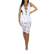 Mujeres Sexy Sin Manga Malla Separar Bodycon Vendaje Mini Vestido Clubwear