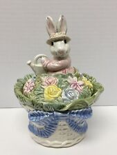 Fitz & Floyd Bunny Hollow Covered Basket Box & Lid Easter With Original Box