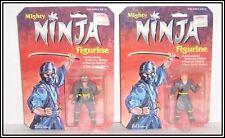 VINTAGE 80s MIGHTY NINJA FIGURINE LOT OF 2 CARDED FIGURES - Mini Hasbro Warriors