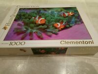 """Clementoni Animals Collection """"Clown Fish"""" 1000 Piece Jigsaw Puzzle Complete"""