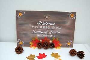 Rustic Wedding Sign, Welcome to our Wedding Sign, Personalised, Autumn Decor