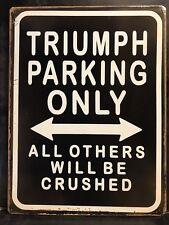 TRIUMPH Parking Only Metal Sign /  Vintage Garage Wall Decor (30 x 20cm)