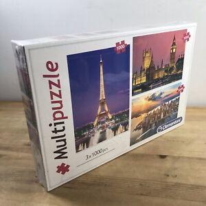 Clementoni Multi Puzzle City Landscape Jigsaw Set of 3 x 1000 Pieces