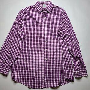Brooks Brothers Men's Button-Up Dress Shirt 17.5 Purple Checks Slim Fit Non-Iron