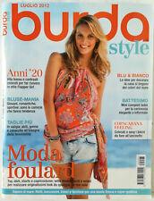 Rivista Burda Style luglio 2012 Italia cartamodelli cucito
