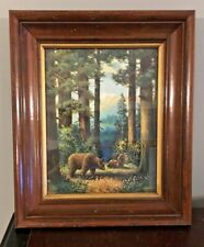Well Guarded Vtg 1930s Mother Bear Cubs Framed Color Litho Wildlife Print 16X19
