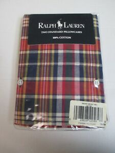 Ralph Lauren MADRAS Bright Red Plaid Checked 2 Standard Pillowcases With Buttons