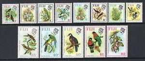 Fiji 1972 Birds & Flowers Set of 13 Sideways Watermark MNH