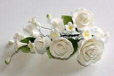 LARGE FORMAL ROSE SPRAY WHITE Sugar Flowers, Cake Topper, Sugar Paste, Weddings