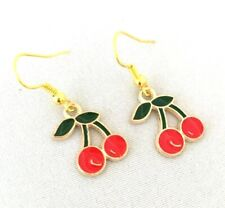 Red Cherry Earrings Gold Plated Enamel Kitsch Rockabilly Rockafella