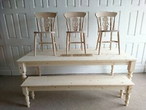 New 8ft 7ft 6ft 5ft Solid Pine Dining Table, Bench & Matching FiddleBack Chairs