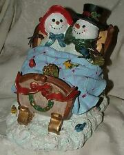 Vintage 1970s-80s Pottery Snowman & Snowlady in Sleigh Birds Glitter Hand Made