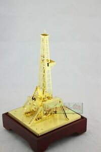 NEW Oilfield Oil Well Derrick Drill Rig Gold color Model Commemorative Edition