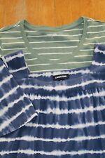 2 Lands End Short Sleeve Super Soft T-shirts Blue Green Striped Womens XL 18