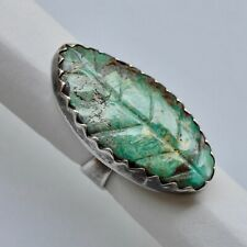 *Vintage Large Turquoise Leaf Ring HandCrafted Sterling Silver Unsigned