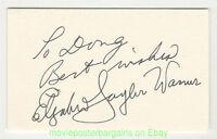ELIZABETH TAYLOR Autograph On 3x5 In. Index Card Signed ELIZABETH TAYLOR WARNER