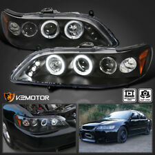 For 1998-2002 Honda Accord LED+Halo [Black] Projector Headlights PAIR
