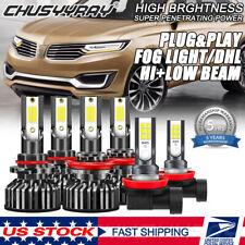 For Lincoln MKX 2007-2010 LED Headlight Hi/Lo + Fog Light Bulbs Combo Kit