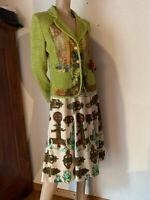 Jersey Blazer Jacke grün bunt meliert Soggo Paris Baumwolle Mix Strick S/M