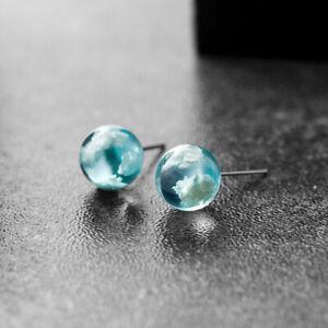 Creative Resin Transparent Blue Sky White Cloud Ball Stud Earrings Jewelry N8A9