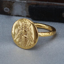 925 k Sterling Silver Bee Coin Ring Handmade Turkish Jewelry 24k Gold Vermeil