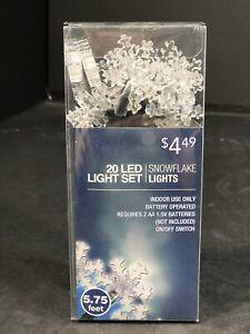 Christmas Lights 20 LED Snowflake Light Set Indoor Use Battery Operated 2AA 1.5V