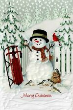 16 Embossed Boxed Christmas Cards Sled Snowman Birds Welcome Home