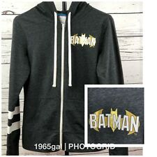 Batman Ladies Gray Full Zip Hoodie Juniors Medium striped sleeves