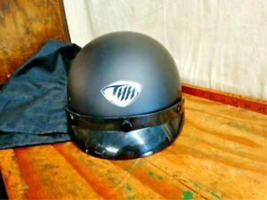 THH T-70 SHORTY XL (61-62cm) Black Helmet, Snap On Visor & Storage Sack NOS