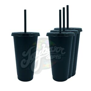 24oz Reusable Plastic Tumbler Matte Black Craft Cup with Straw and Lid (4 Pack)
