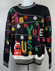 Ugly Christmas Sweater Womens Large Fab Yule Us Sparkly Bulbs Balls Ornaments