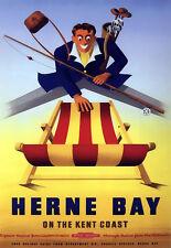 Herne Bay en la costa de los ferrocarriles británicos carril de viaje Kent cartel impresión