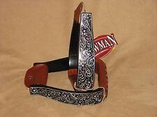 Western Saddle Show Stirrups Black Aluminum Engraved Stirrups Crystal Rhinestone