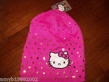 Hello Kitty Pink Knit Hat W/Gold Stars New