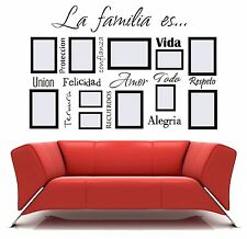 La familia es Spanish vinyl wall decal words frame lettering sticker US seller