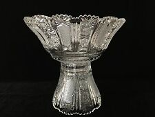 Vintage Queen Lace Bohemian Czech Hand Cut Glass Crystal Footed Centerpiece