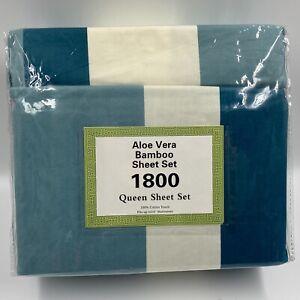 Aloe Vera Bamboo 6-Piece Sheet Set 1800 Series Queen Size Deep Pocket Stripe NIP
