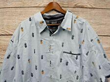Modern Culture Shirt Mens 5XL Blue Tropical Pineapple Modern Fit Button Down New