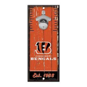 """CINCINNATI BENGALS BOTTLE OPENER SIGN 5""""X11"""" HARDBOARD W/ CAST METAL OPENER NEW"""