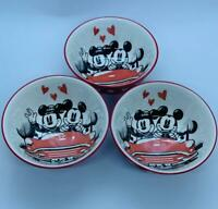 Set Of 3 NEW Disney RED LOVE  Ceramic CEREAL SOUP Bowl Mickey Mouse Disney 5""