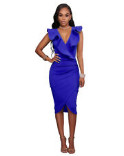UK Womens V Neck Frill Ruffle Bardot Bodycon Midi Evening Party Cocktail Dress Blue 3xl