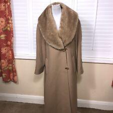 Windsmoor Sz 12 M Camel Wool & Cashmere Faux Fur Collar Swing Long Coat Womens
