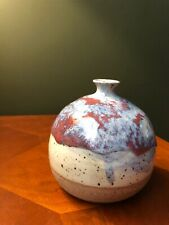 Beautiful Pottery Red Blue Tan Glazed Small Vase Weed Pot Signed RKE