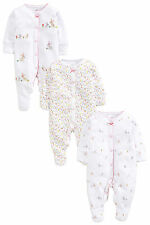 ВNWT NEXT Playsuits • Bunny Embroidered Sleepsuits 3pk • 100% Cotton • 1 Month