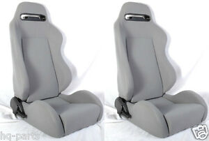NEW 1 PAIR GRAY CLOTH RECLINABLE RACING SEATS FOR CHEVROLET ***