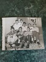 Original Vintage Photo Black & White Handsome Smiling Cute Group Gay Guys