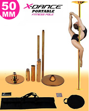 9' FT 50mm GOLD X-Dance Pole Professional Spinning Exotic Portable Removable NEW